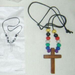 Vintage Wooden Cross Beaded Faith Necklace